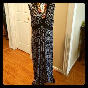 Black & White Deep V neckline Maxi Dress